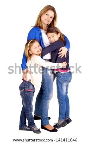 young mother with daughters isolated in white - stock photo