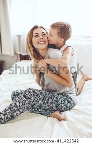 young mother her 6 years old stock photo 411422371 shutterstock. Black Bedroom Furniture Sets. Home Design Ideas