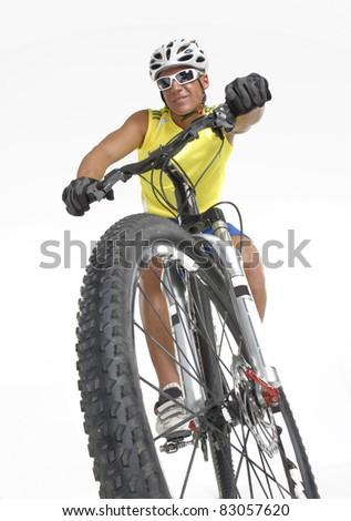 Young mountain biker men. - stock photo