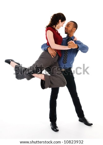 young multi ethnic couple beautiful dancing on white - stock photo