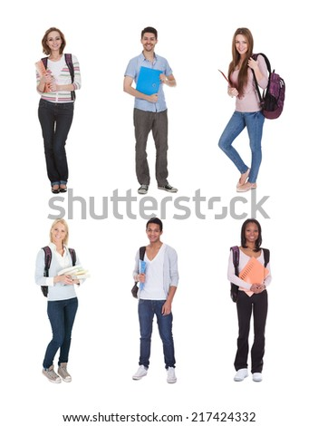 Young Multi Racial Of Group Of Students Standing Over White Background - stock photo