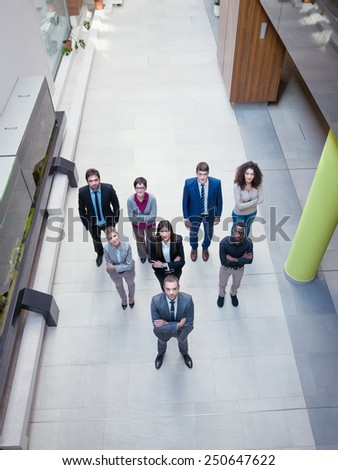 young multiethnic business people group  top view