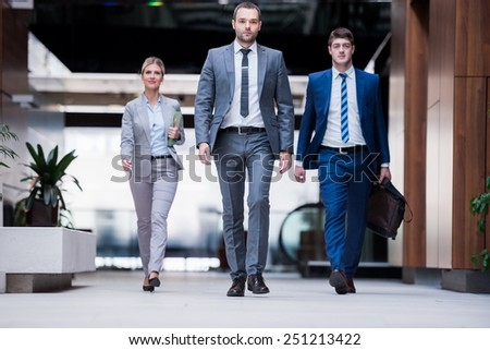 young multiethnic business people group walking standing and top view - stock photo
