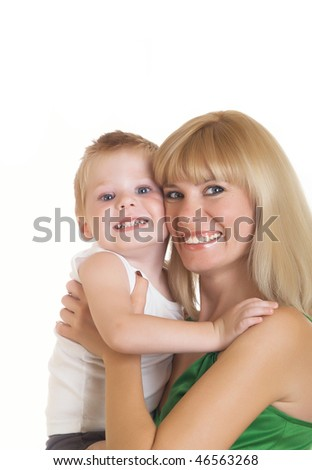 Young mum with the small son on a white background - stock photo