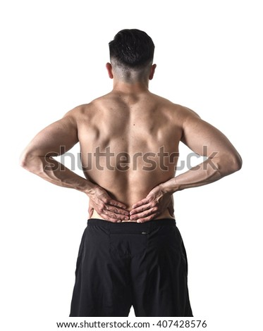 young muscular body sport man holding sore low back waist massaging with his hands suffering pain in athlete stress and health care concept isolated on white background - stock photo