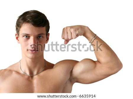 Young muscular man flexing his biceps isolated on white - stock photo