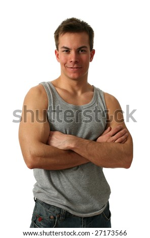 Young muscular man wearing a gray athletic shirt isolated on white - stock photo