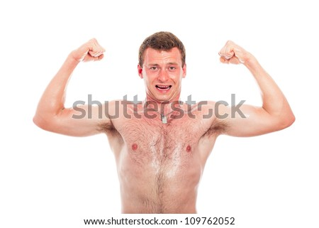 Young muscular sports man showing biceps, isolated on white background. - stock photo