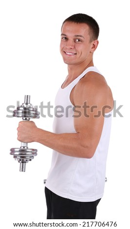 Young muscular sportsman execute exercise with dumbbells isolated on white - stock photo
