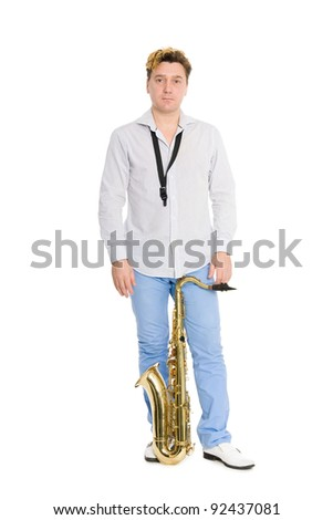 Young musician with saxophone. Isolated on white. - stock photo