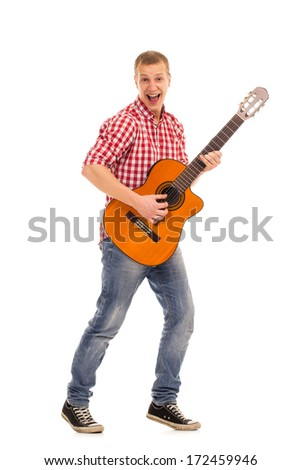 Young musician with wooden guitar