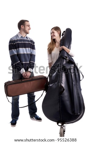 young musicians with double bass and violin in bags