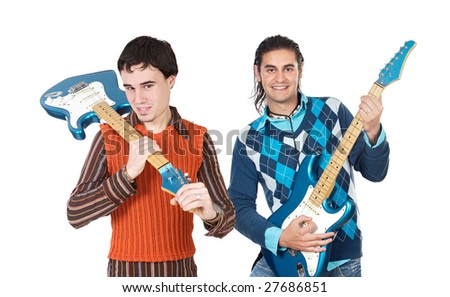 Young musicians with electric guitar on a over white background