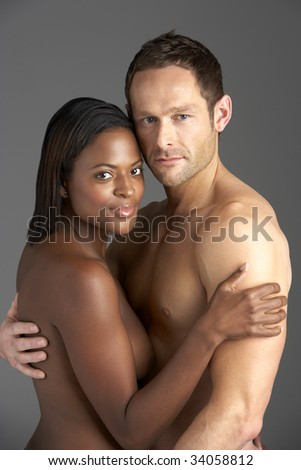 Young Naked Couple Embracing - stock photo