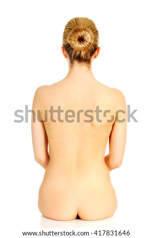 Young naked woman back. - stock photo