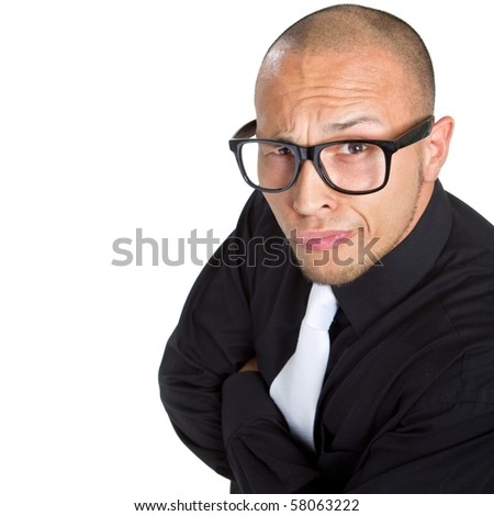 Young nerdy businessman isolated over white background. Fresh young male asian model.