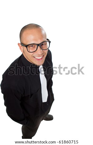 Young nerdy businessman isolated over white background. Fresh young male asian model. - stock photo