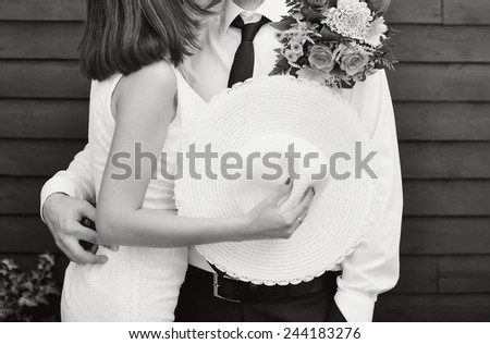 Young newlywed caucasian couple together on wedding day. - stock photo