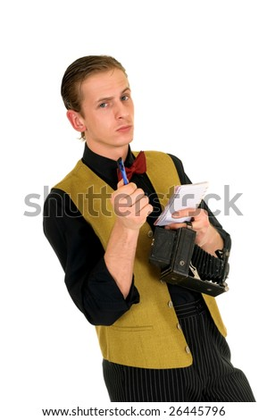 Young news reporter, retro vintage style with antique camera, white background
