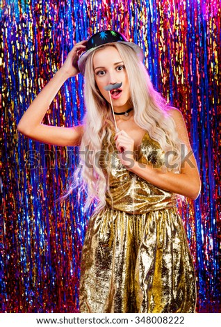 Young nice girl have fun on a dance party - stock photo