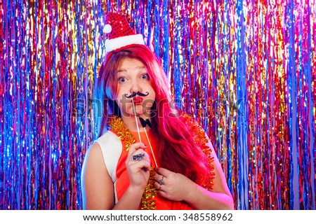 Young nice girl have fun on a party - stock photo