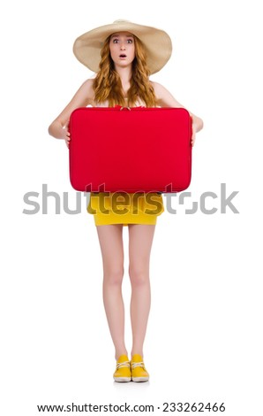 Young nice girl with travel case isolated on white - stock photo