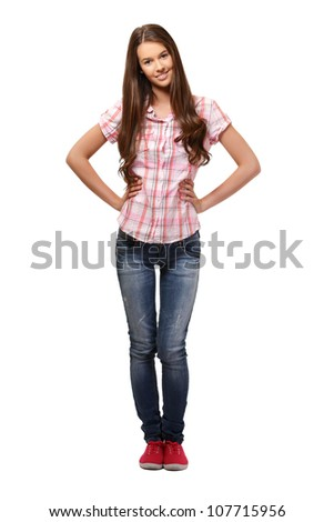 young nice woman isolated on white - stock photo