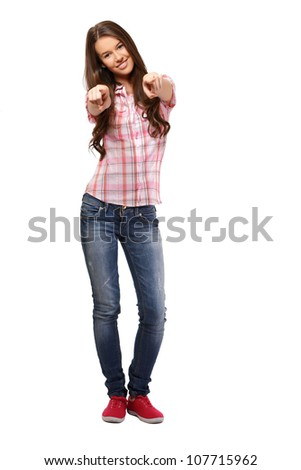 young nice woman pointing isolated on white - stock photo
