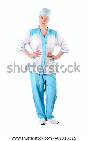 Young nurse full length portrait,  Isolated over white background - stock photo