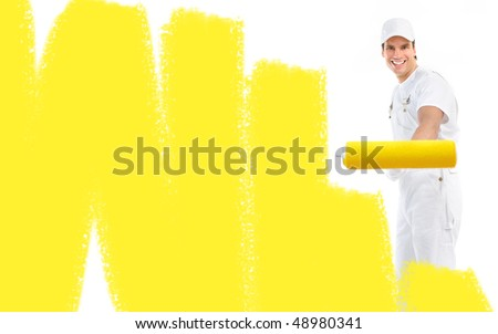 Young painter man in white suit. - stock photo