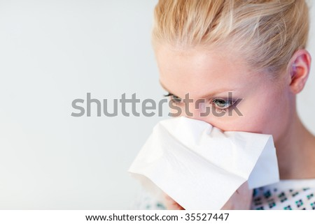 Young Patient with the flu in a hospital - stock photo