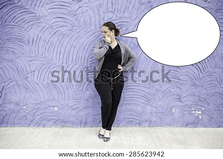 Young pensive doubt supported by urban wall - stock photo
