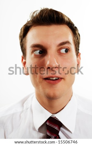 young pensive handsome businessman over white - stock photo