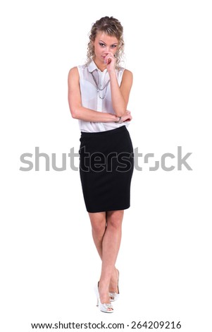 Young pensive woman. Caucasian businesswoman isolated on white background in full body - stock photo