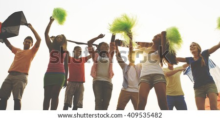 Young People Active Diversity Together Concept - stock photo