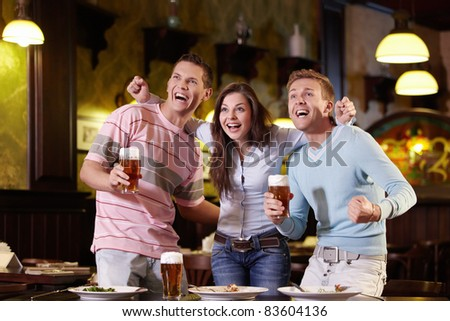 Young people are expressing in the pub - stock photo