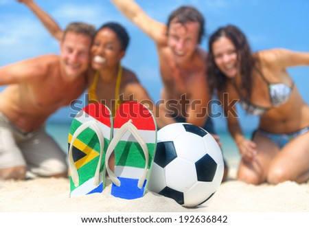 Young people celebrating the South african football world cup. - stock photo