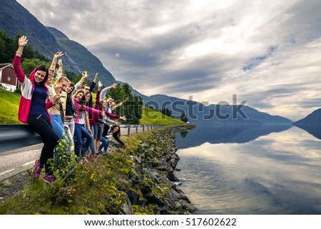 Young people enjoying the view on the way back home, Norway