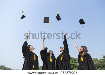 Young people graduation - stock photo
