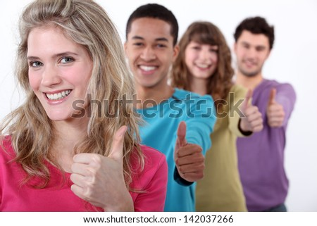 Young people happy - stock photo