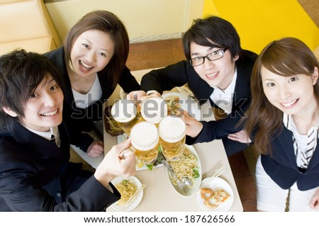 young people having a toast - stock photo