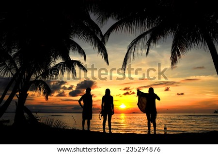 Young people having fun in the beach - stock photo