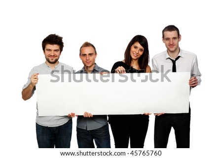 young people holding a blank banner studio shot on white - stock photo