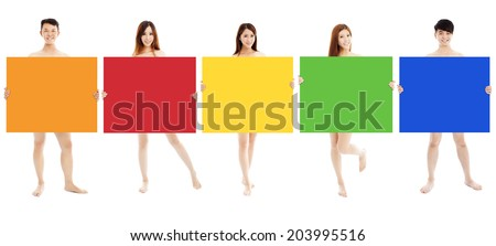 young people holding blank color boards  - stock photo