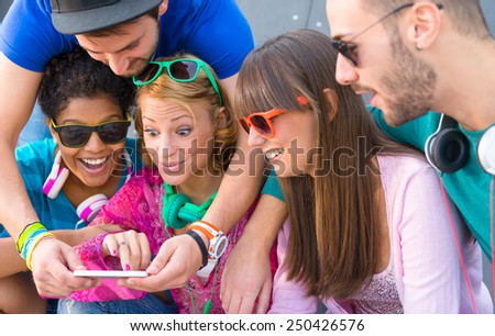 Young people in skate park - stock photo