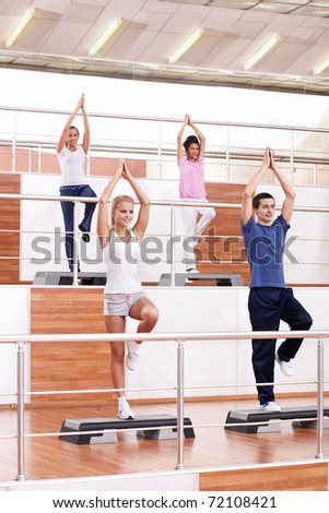 Young people in the aerobics
