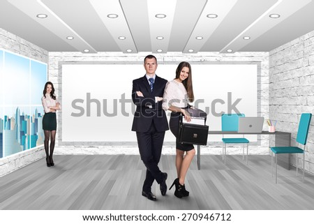 Young people in the modern office - stock photo