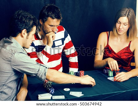 young people playing poker off-line tournament, friends party co