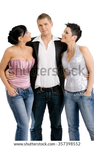 Young people posing in trendy clothes, dressed for party. Isolated on white background. - stock photo