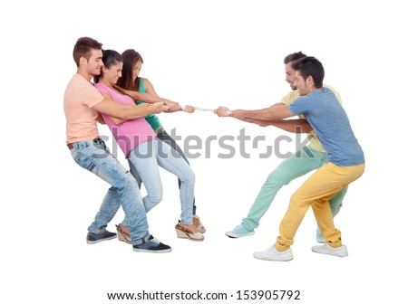 Young people pulling a rope isolated on a white background - stock photo